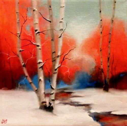 """Birch and Distant Maples"" original fine art by ~ces~ Christine E. S. Code"