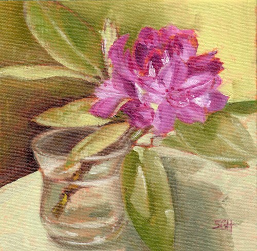 """Rhododendron in Juice glass"" original fine art by Sandy Haynes"