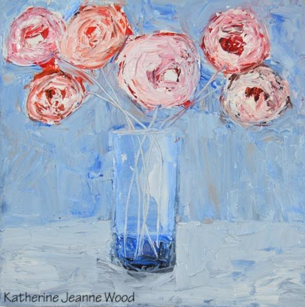 """Pink and white cottage chic roses No 127"" original fine art by Katie Jeanne Wood"