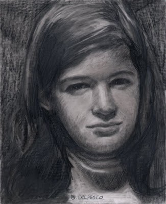 """""""Graphite Drawing: Seven (and a painting by Ron Chesley)"""" original fine art by Belinda Del Pesco"""