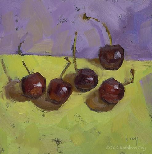 """A Gathering of Cherries"" original fine art by Kathleen Coy"