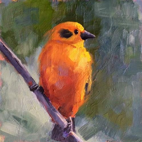 """""""Yellow Bird"""" original fine art by Deborah Newman"""