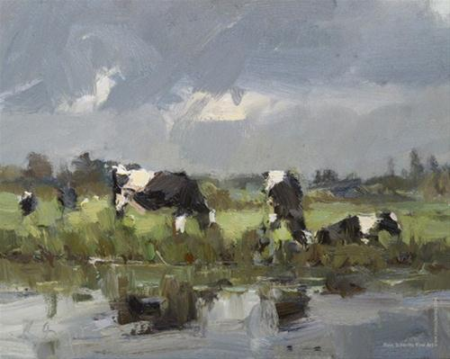"""COWS 12 Paintings for the year 2013"" original fine art by Roos Schuring"