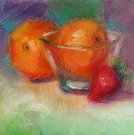 """Orange in a Glass Bowl"" original fine art by Cindy Haase"