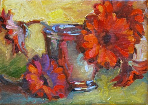 """More Red Flowers"" original fine art by Karen Bruson"