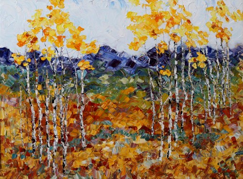 """Original Palette Knife Aspen Landscape Painting Fall Symphony  by Colorado Impressionist Judith Ba"" original fine art by Judith Babcock"