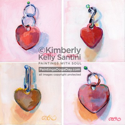 """Dog Tag Valentines - Auction"" original fine art by Kimberly Santini"