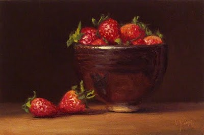"""Bowl of Strawberries"" original fine art by Abbey Ryan"
