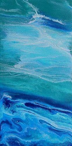 """Contemporary Abstract Seascape Painting,Coastal Art Hope Shines Brightly- Mini# 1 by International"" original fine art by Kimberly Conrad"