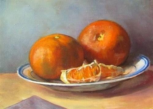 """22 - Clementines and Plate"" original fine art by Ed Watson"