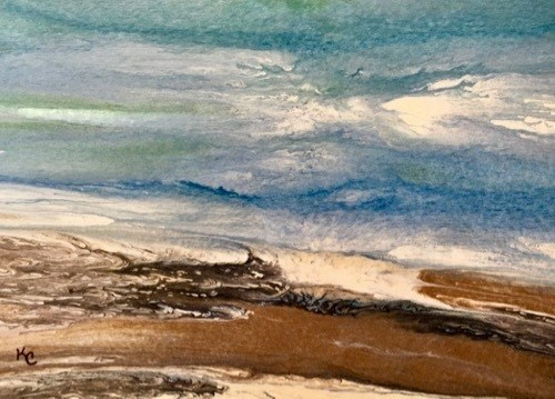 """Ocean, Abstract Seascape Painting, Beach, Coastal Art Beach Bash Sale #29 by International Contemp"" original fine art by Kimberly Conrad"