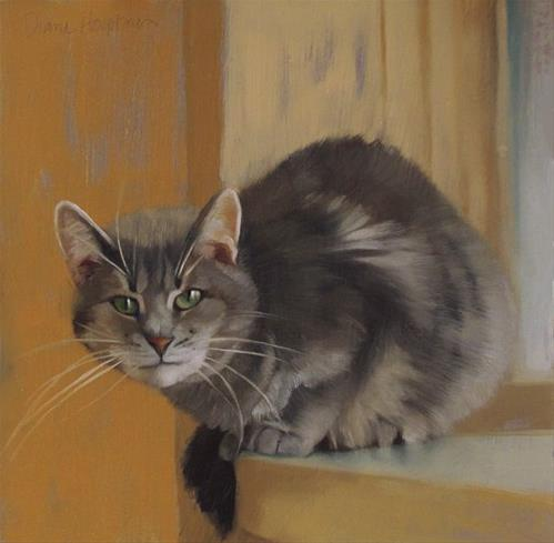 """Rex, a new cat painting"" original fine art by Diane Hoeptner"
