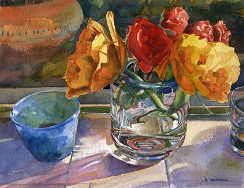 """Watercolor: Ranunculus (& talking to the public about your art at an exhibit)"" original fine art by Belinda Del Pesco"