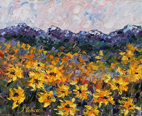 """Colorado Landscape Painting ,Sunflower Painting Sunflowers With a Viewby Colorado Impressionism Ar"" original fine art by Judith Babcock"