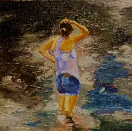 """A lady in the lake,A6"" original fine art by Run-      Zhang Zane"
