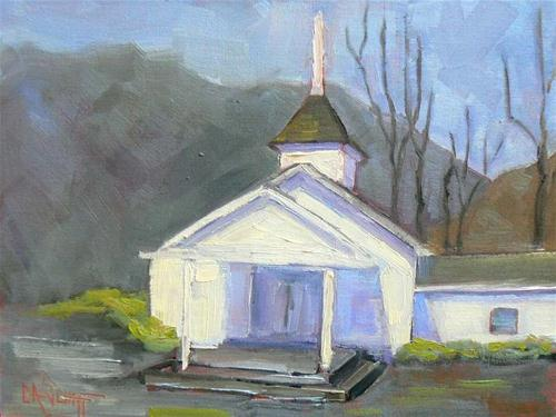 """Mountain Church"" original fine art by Carol Schiff"