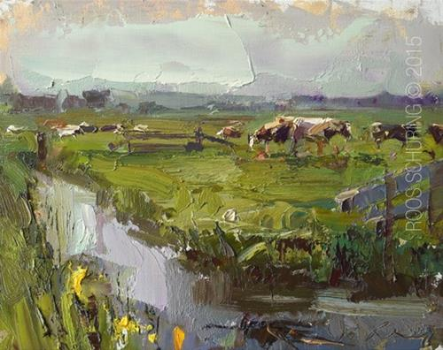 """Morning Impression and Cows"" original fine art by Roos Schuring"
