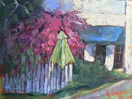 """Bougainvillea and Umbrella"" original fine art by Carol Schiff"
