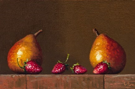 """Golden Series: Two Pears with Four Strawberries"" original fine art by Abbey Ryan"