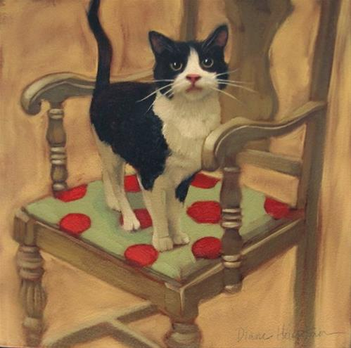 """Cat on Chair a new cat painting"" original fine art by Diane Hoeptner"