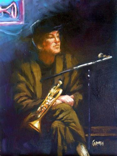 """""""Jazzman, 6x8 Oil on Canvas Board"""" original fine art by Carmen Beecher"""