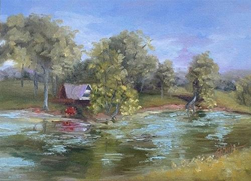 """Cabin on the Pond, 9 x 12 Oil, Landscape"" original fine art by Donna Pierce-Clark"