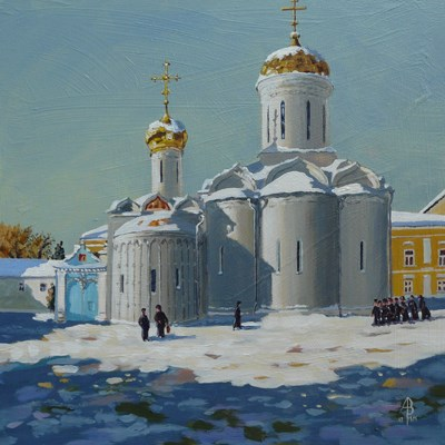 """Trinity Cathedral, St Sergius monastery, near Moscow"" original fine art by Alix Baker"