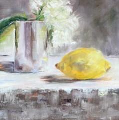"""original oil painting lemon and white flower"" original fine art by Carrie Venezia"