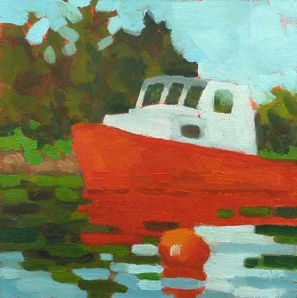 """Red Boat Christmas Cove"" original fine art by Bobbi Heath"