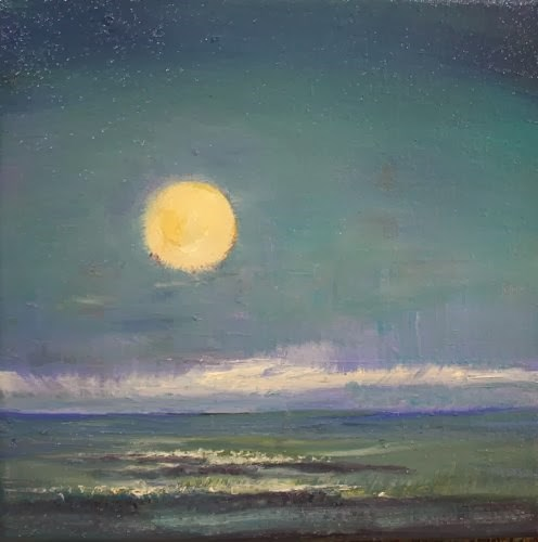 """Moon Shine, Seascape Paintings by Arizona Artist Amy Whitehouse"" original fine art by Amy Whitehouse"