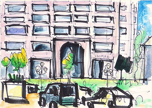 """Hazard Center, San Diego Watercolor"" original fine art by Kevin Inman"