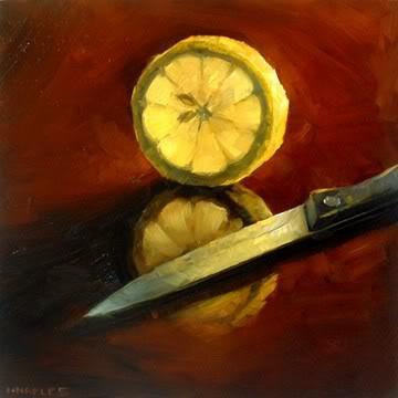 """Lemon Slice with Knife"" original fine art by Michael Naples"