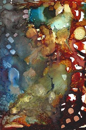 """Abstract Painting, Alcohol Ink ""Grillwork"" by New Orleans Artist Lou Jordan"" original fine art by Lou Jordan"