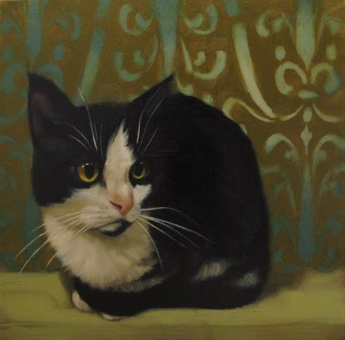 """Beth the Tuxedo Cat original painting"" original fine art by Diane Hoeptner"