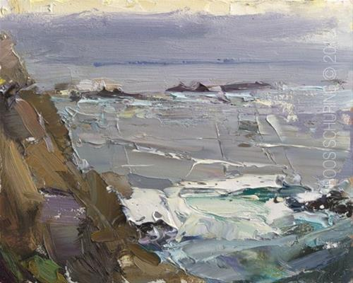 """Seascape Point Lobos Rain Approaching"" original fine art by Roos Schuring"