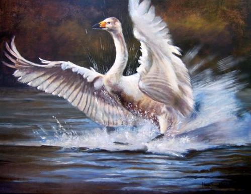 """Original Swan Painting Perfect Landing by Colorado Artist Nancee Jean Busse"" original fine art by Nancee Busse"