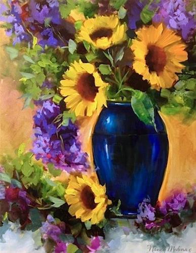 """""""Happy Days Sunflowers and a Celebration by Flower Artist Nancy Medina"""" original fine art by Nancy Medina"""