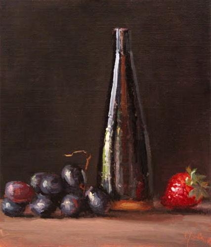 """Still Life with Black Grapes, Strawberry, & Tall Bottle"" original fine art by Abbey Ryan"