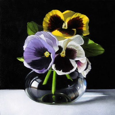 """Pansies 6x6"" original fine art by M Collier"