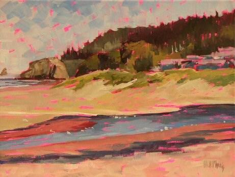 """Cannon Beach Buildings"" original fine art by Mary McInnis"