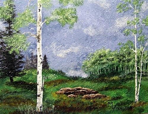 """Contemporary Landscape Art Painting, Aspen Trees,  In The Meadow  by Mary Arneson Art-Works of Whi"" original fine art by Mary Arneson"