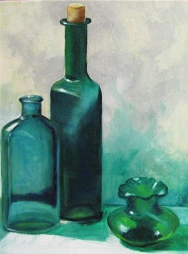 """""""Three Green Bottles Still life Barbara Haviland"""" original fine art by Barbara Haviland"""