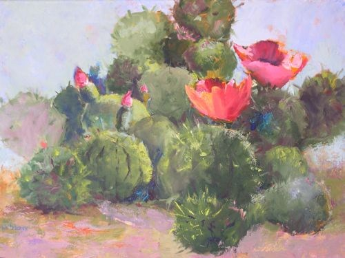 """Cactus Blooms Southwest Landscape Paintings by Arizona Artist Amy Whitehouse"" original fine art by Amy Whitehouse"