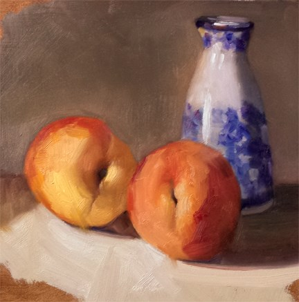 """Peaches and Sake Pitcher"" original fine art by Cindy Haase"