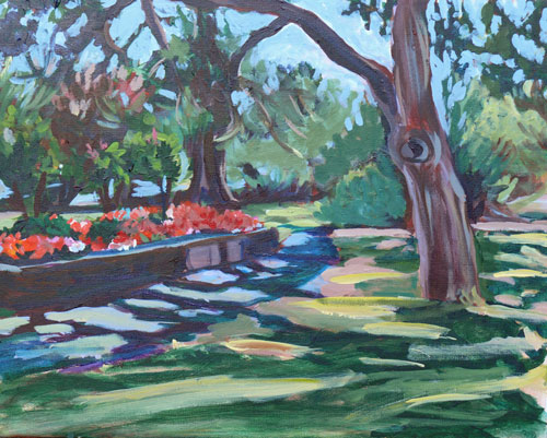 """Beacon Hill Park Scene, acrylic on canvas, 16x20"" original fine art by Darlene Young"