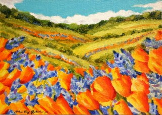 """Poppies and Lupine"" original fine art by JoAnne Perez Robinson"