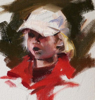 """A Little Girl in Red"" original fine art by Qiang Huang"