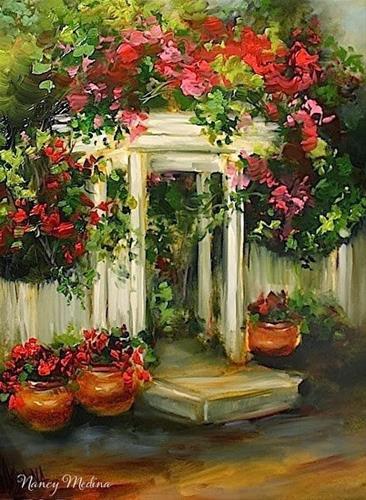 """Cottage Path Geraniums and a San Diego Workshop by Nancy Medina"" original fine art by Nancy Medina"