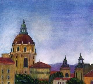 """""""Watercolor: Pasadena Dome (City Hall)"""" original fine art by Belinda Del Pesco"""