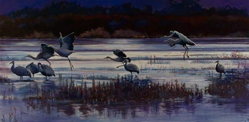 """Original Wildlife Landscape Painting With Birds Sunset Speaks to Sandhills by Colorado Western Lan"" original fine art by Nancee Busse"